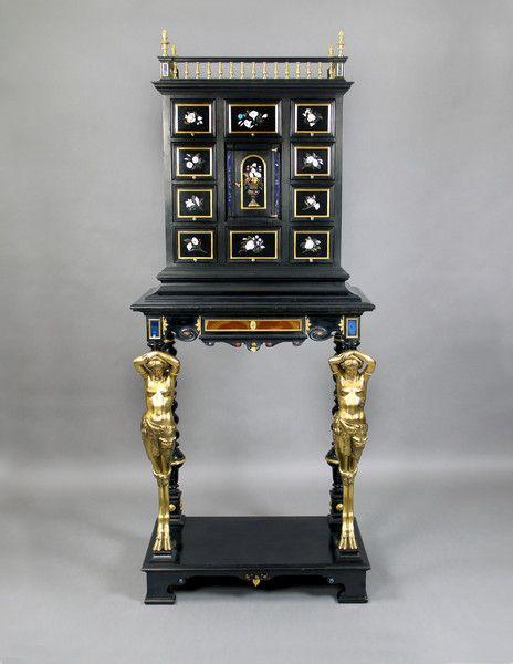 A Magnificent Mid 19th Century Gilt Bronze, Ebony and Semi-Precious Stone Florentine Pietre Dure Cabinet By Enrico Bosi (Italy)