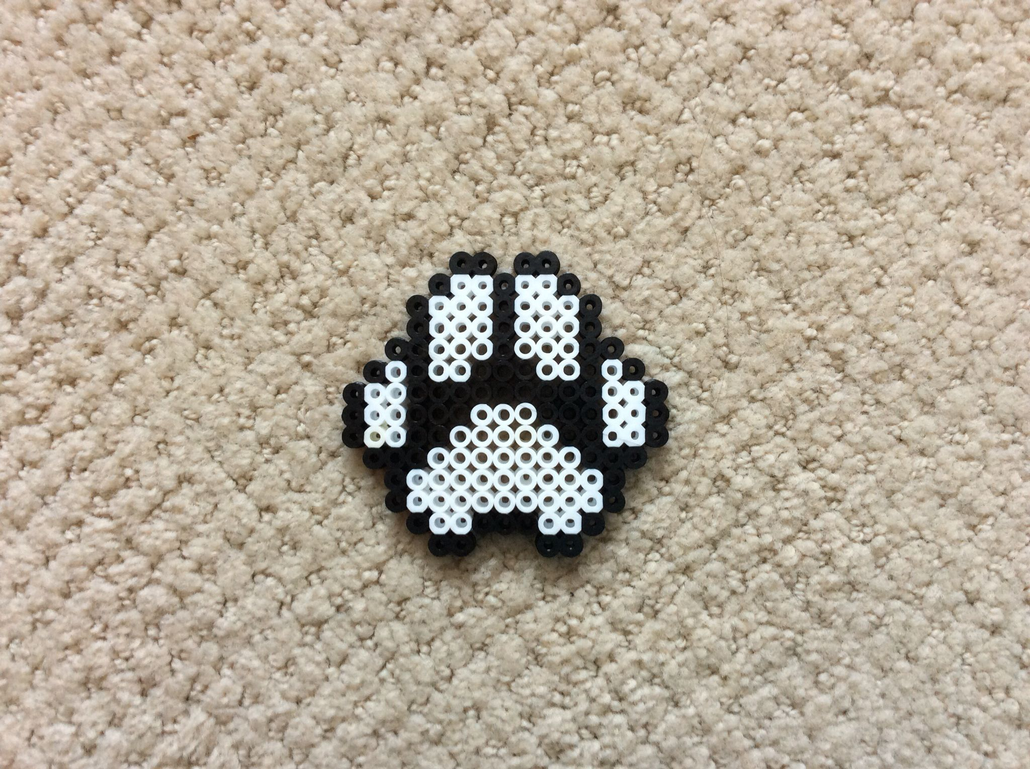 Perler beads black and white paw