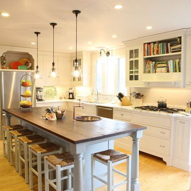 Long Narrow Kitchen With Island Design Ideas, Pictures
