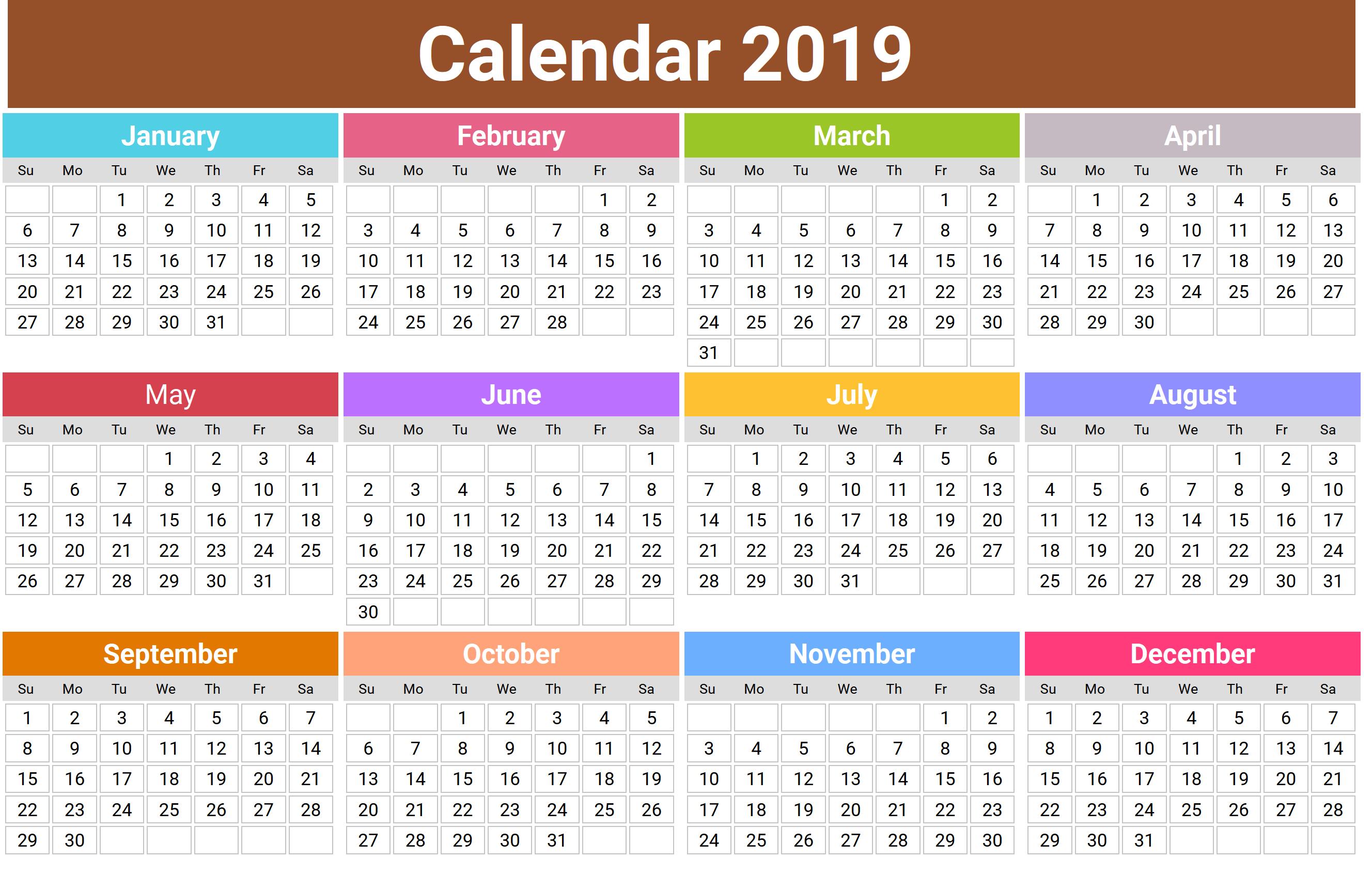 Printable Annual 2019 Calendar Printable calendar