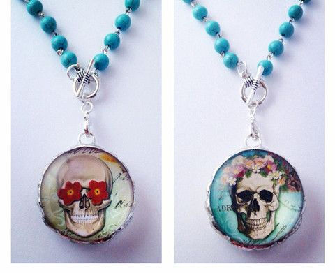 Sugar skull jewelry glass pendant necklaces custom necklace pendants aloadofball Image collections