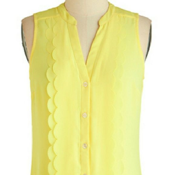 ModCloth Pineapple Punch Top Super cute, never worn! Semi-sheer sleeveless top with scallop trim down the front. Measures 29 inches in length. ModCloth Tops Blouses