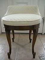 Superior Seating   Ivory Round Vanity Stool With Brown Wooden Curved Legs.