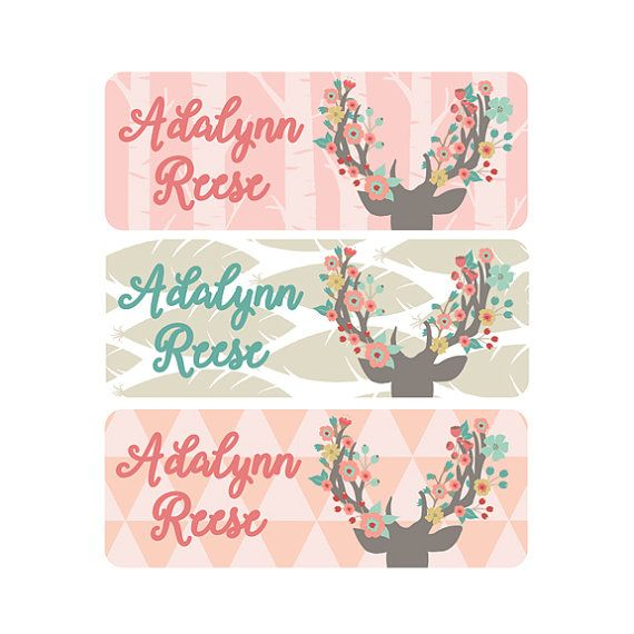 Waterproof Floral Name Labels for Girl to use for school daycare and camp