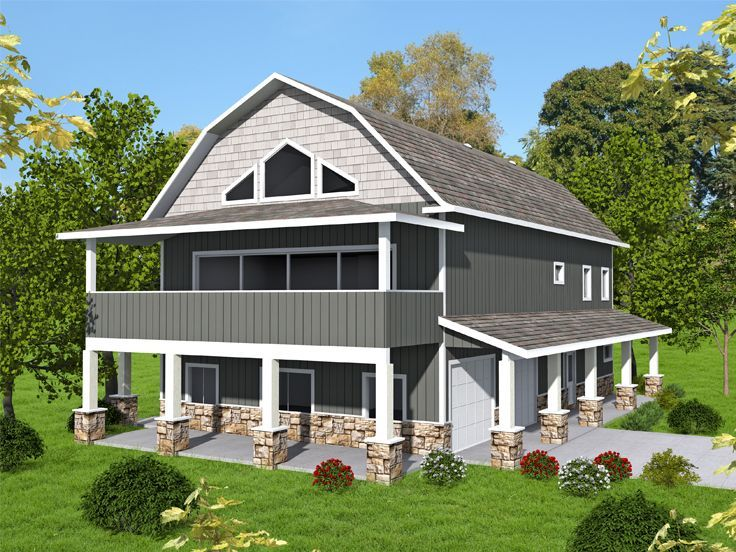 012G-0136:Garage Apartment Plan with Shop and Gambrel Roof | Garage ...