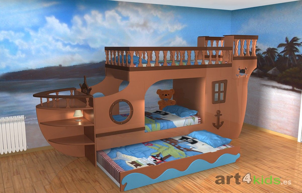 Cama barco pirata 2 ideas para el hogar en 2019 - Literas para bebes ...