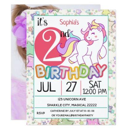 Unicorn 2nd Birthday Party Invitation