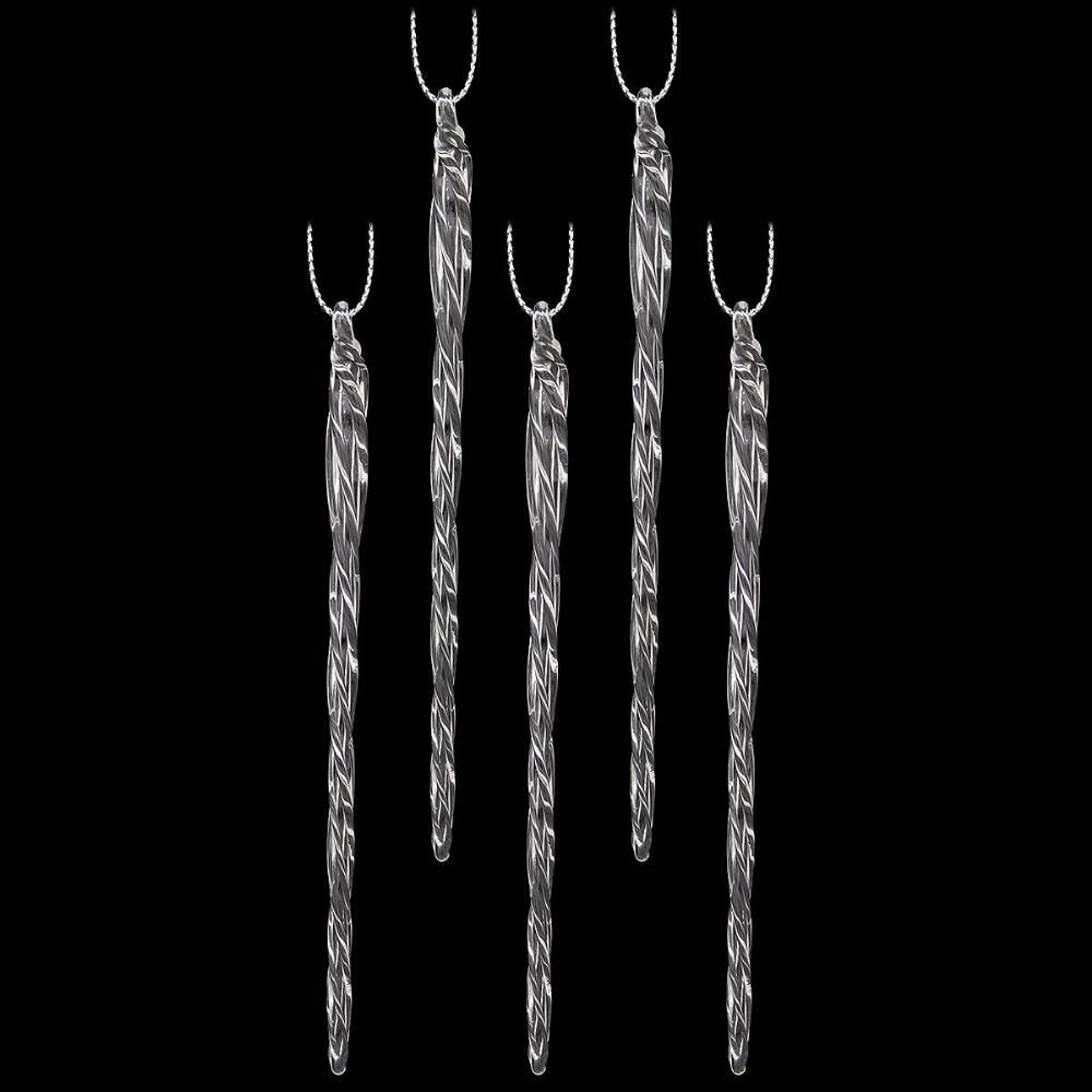 Set Of 20 Spun Glass Icicle Ornaments | Spinning christmas ...