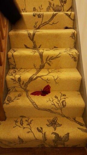 Just Wow Brintons Timorous Beasties Carpet Carpet Stairs | Floral Carpet For Stairs | Modern | Brown Pattern | Pattern | Laminate | Diamond Pattern