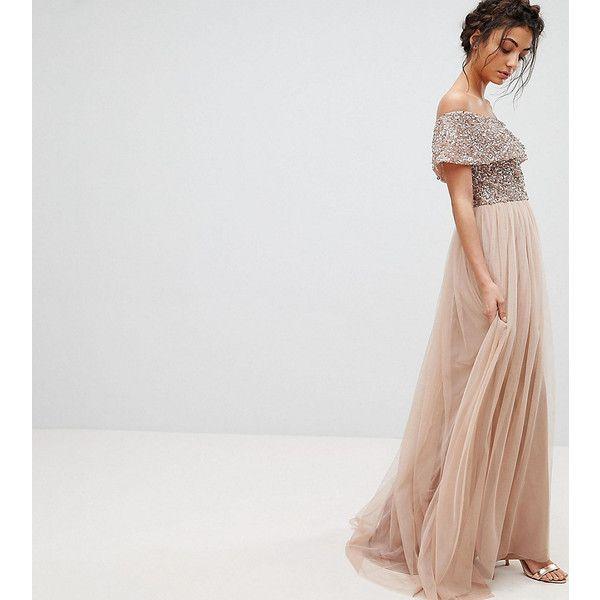 Maya Tall Bardot Sequin Top Tulle Detail Dress With High Low Hem ...