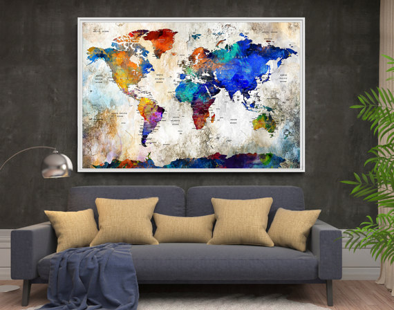 Extra large wall art push pin world travel map push pin travel map extra large wall art push pin world travel map push pin travel map wall art print world map poster world travels map map art print l72 gumiabroncs Image collections