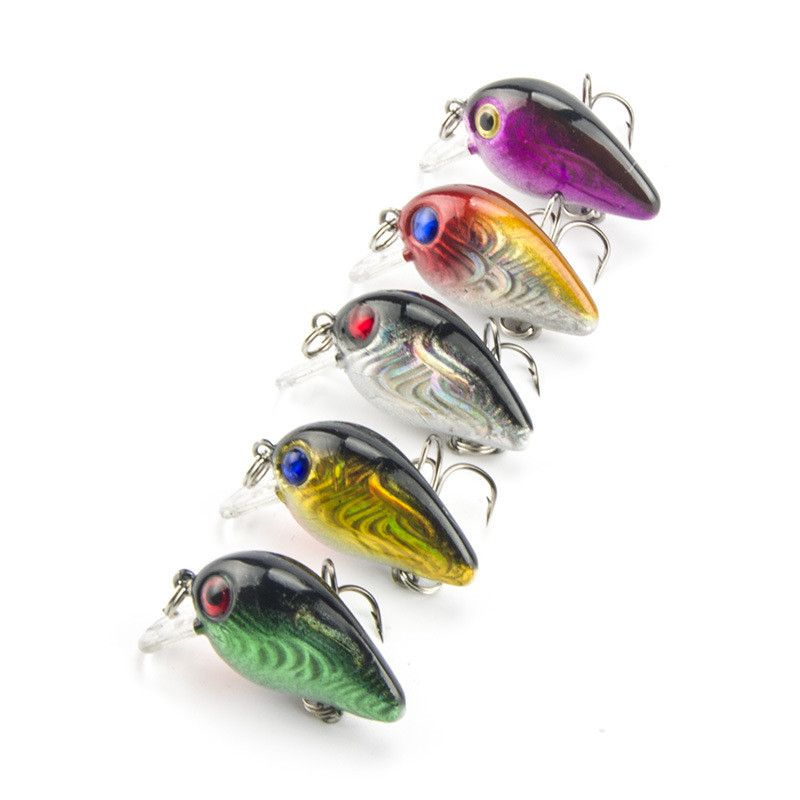 1pc  Fishing tackle 3cm//1.5g peche Wobbler Lure crank baits bass Hook  NEW