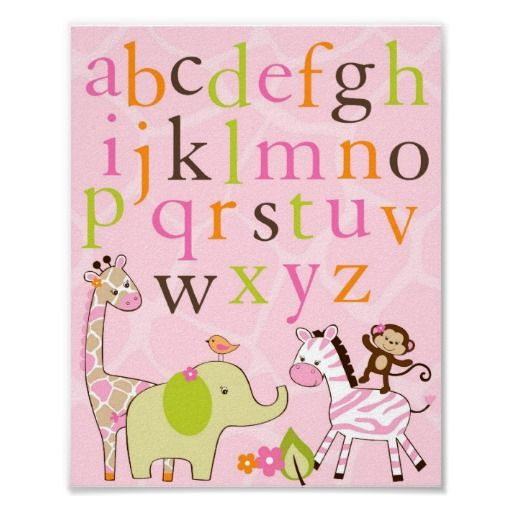 animal nursery girl | Girl Jungle Animal Alphabet Nursery Wall Art Print at Zazzle.ca