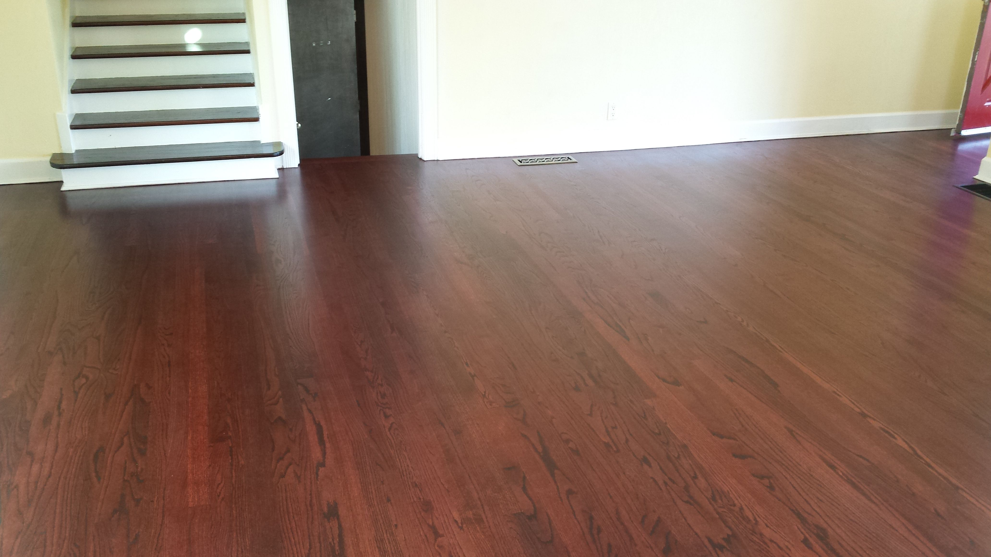 Red Oak Wood Floor Refinished With Duraseal Royal Mahogany Stain Modern Tech Wood Floors Oak Wood Floors Flooring Red Oak Wood