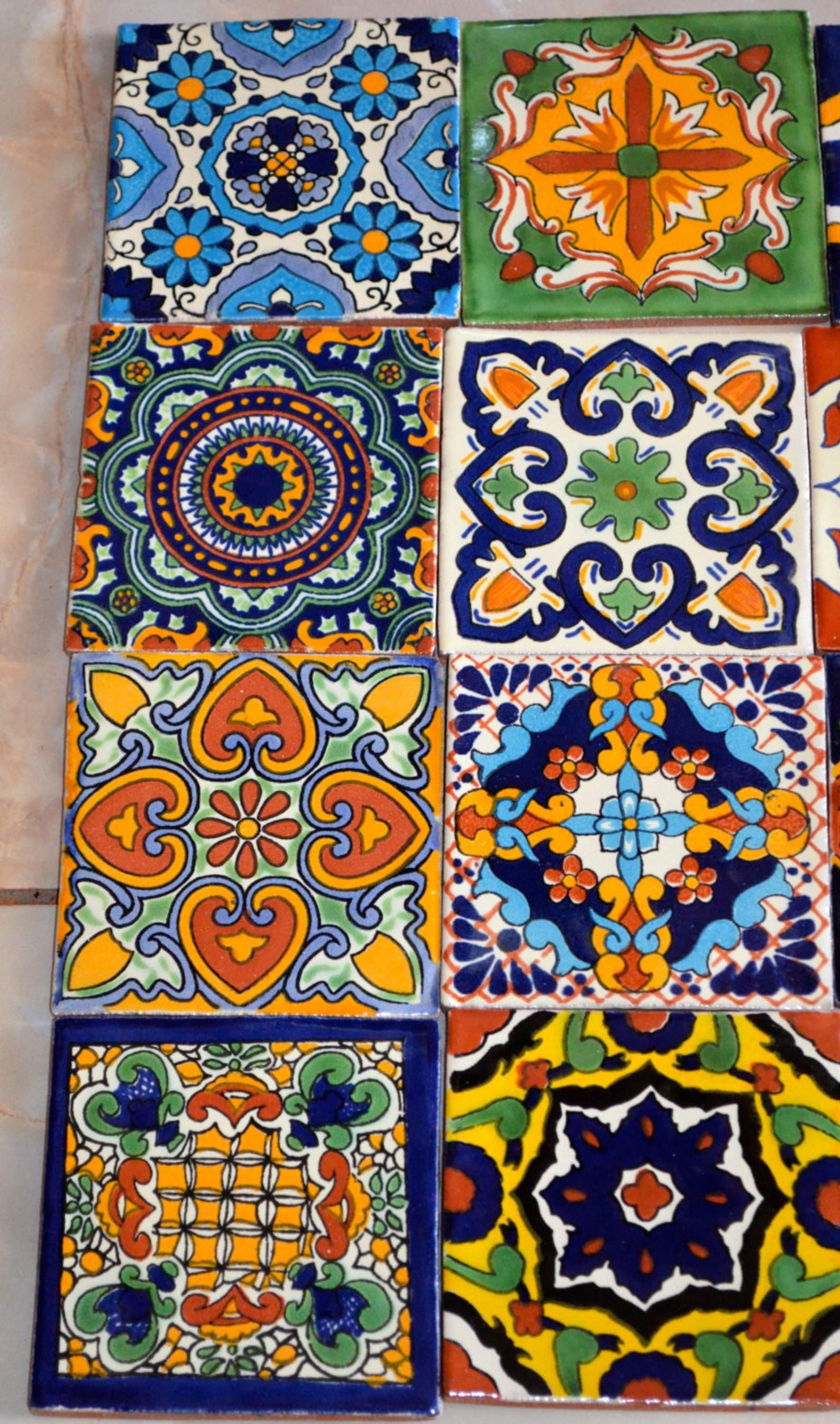 12 Mexican Talavera Tiles Hand Painted 4 X 4 In 2020 Talavera Tiles Mexican Talavera Painting Tile