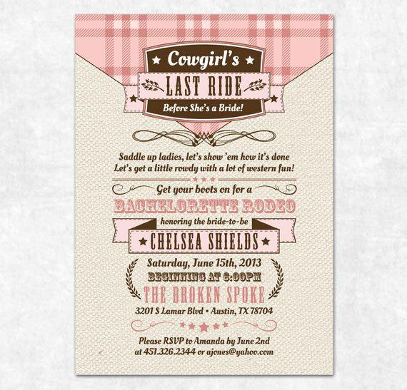 Printable Bachelorette Invitation Cowgirl Country Bachelorette – Country Party Invitations