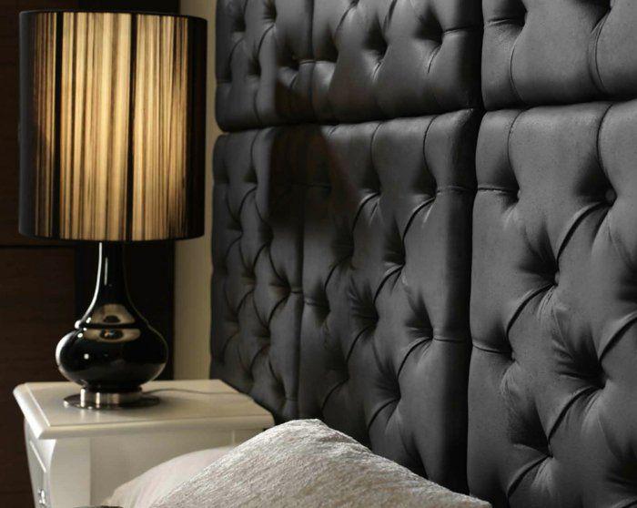 wandgestaltung schlafzimmer schwarze wandpaneele leder | sleep, Schlafzimmer ideen