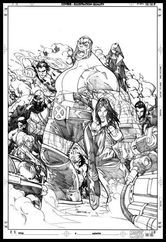 X-Men #202 cover pencils by Humberto Ramos (Awesome Colossus)