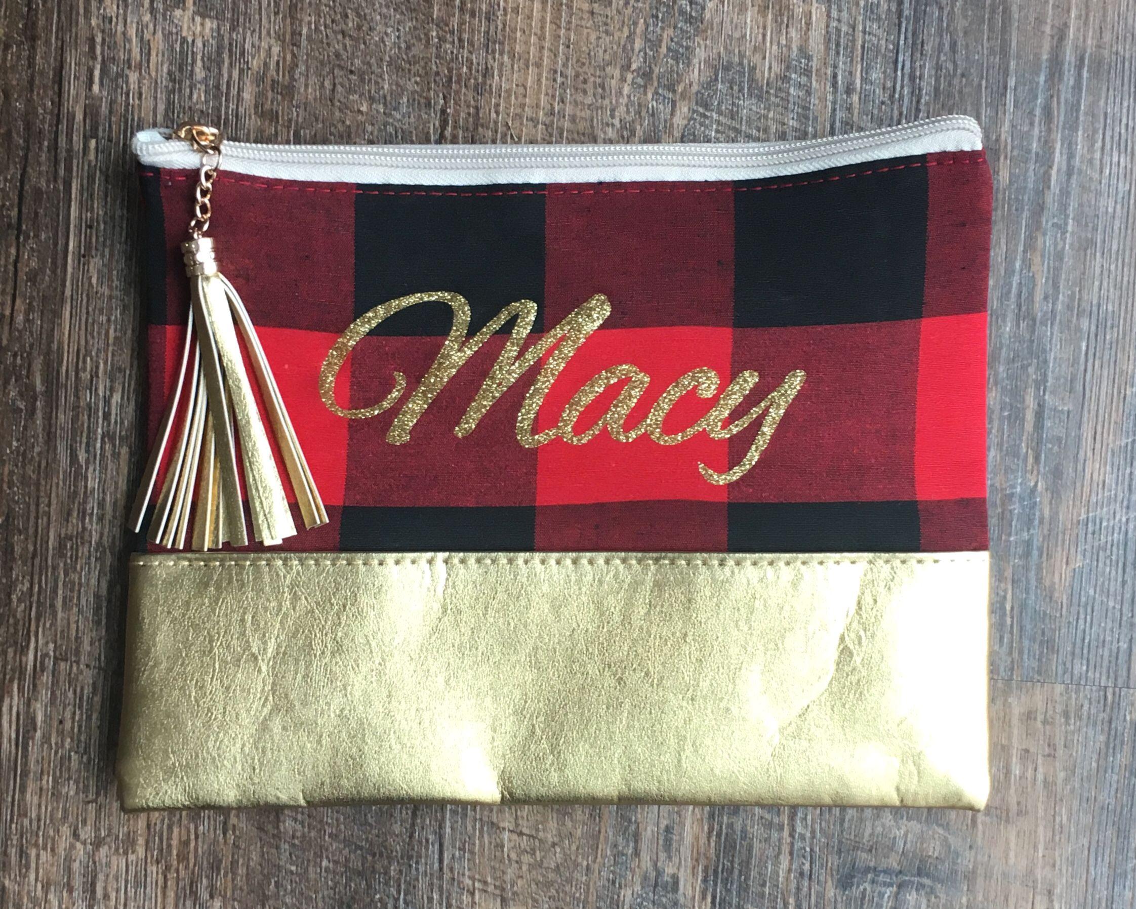 Personalized Buffalo Plaid Gold Cosmetic Bag
