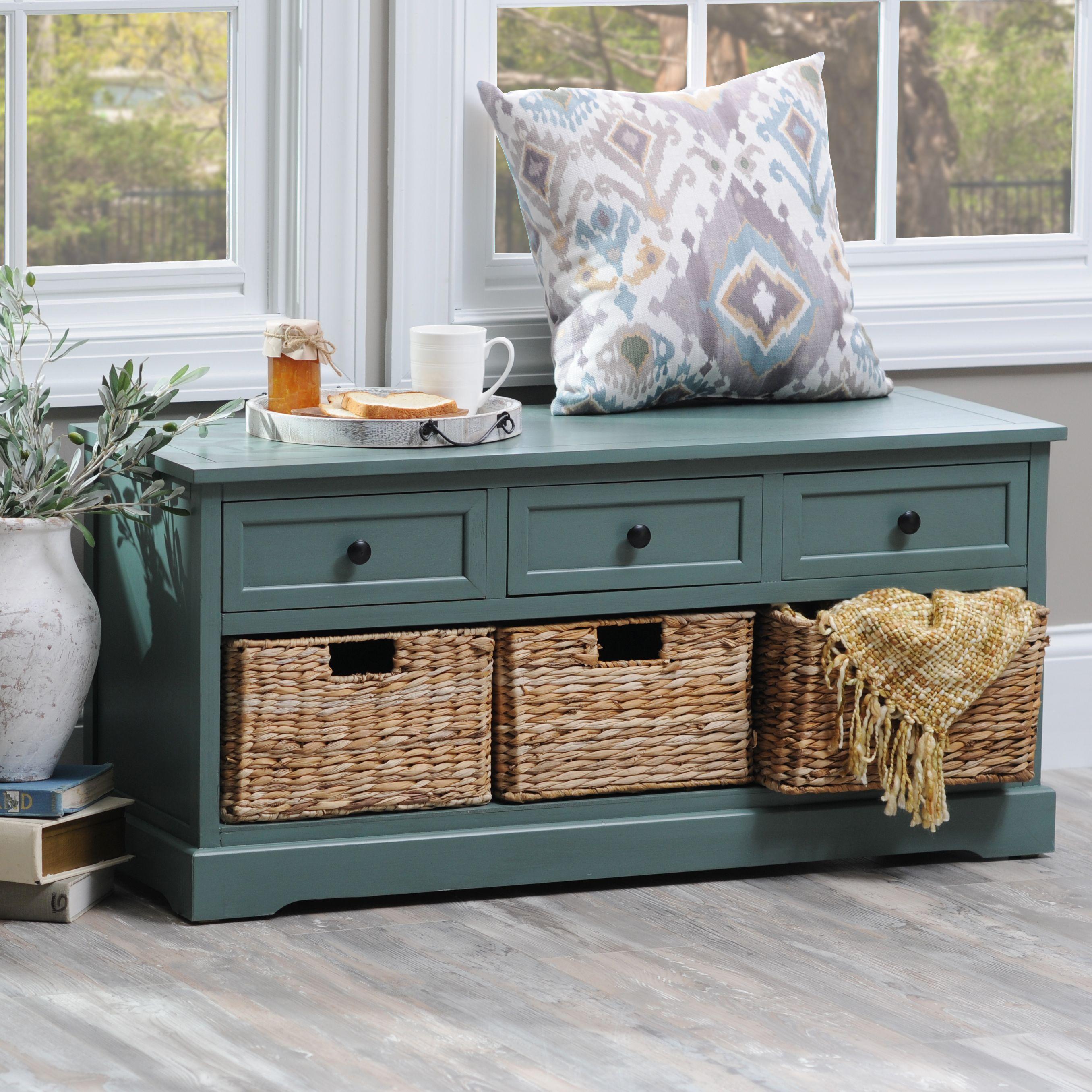 Blue 6 Drawer Storage Bench With Baskets