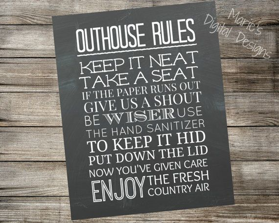 Outhouse Rules Printable Chalkboard Sign Bathroom Home Decor Instant Download Wall Art