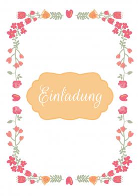 Einladung zum Geburtstag mit zierlichen Blumenranken in