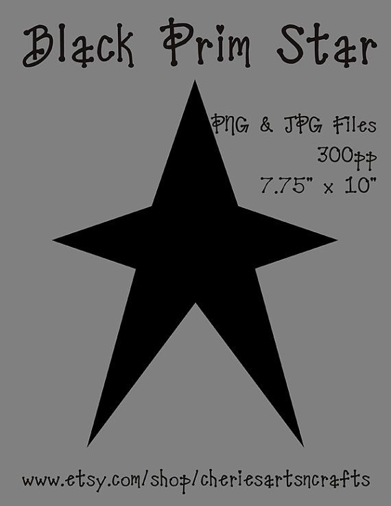 Black Prim Star Clipart Primitive By CheriesArtsnCrafts 100