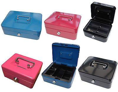 petty cash box black metal security money safe tray holder key