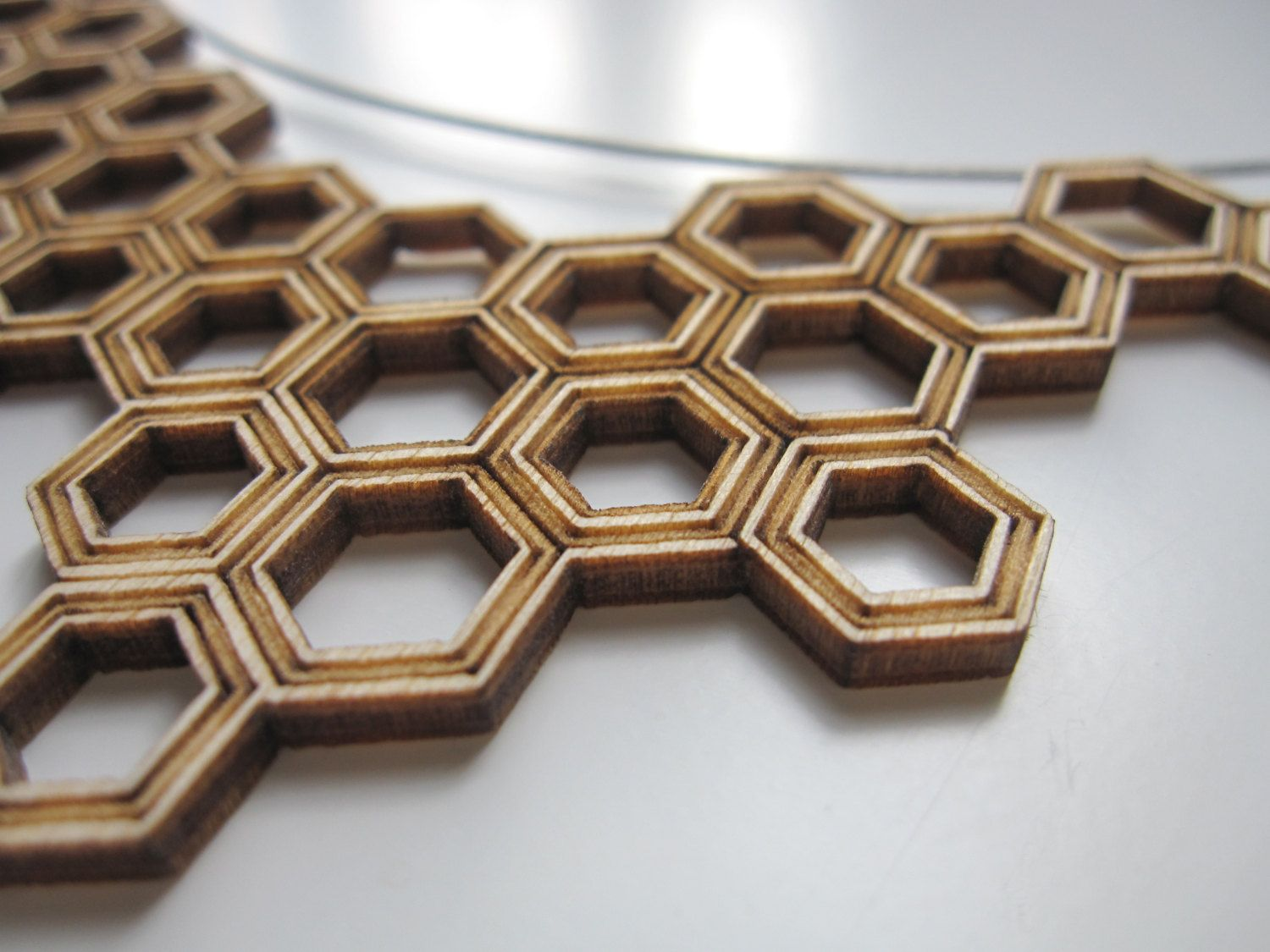 necklace HONEYCOMB - lasercut from birch wood. $19,00, via Etsy.