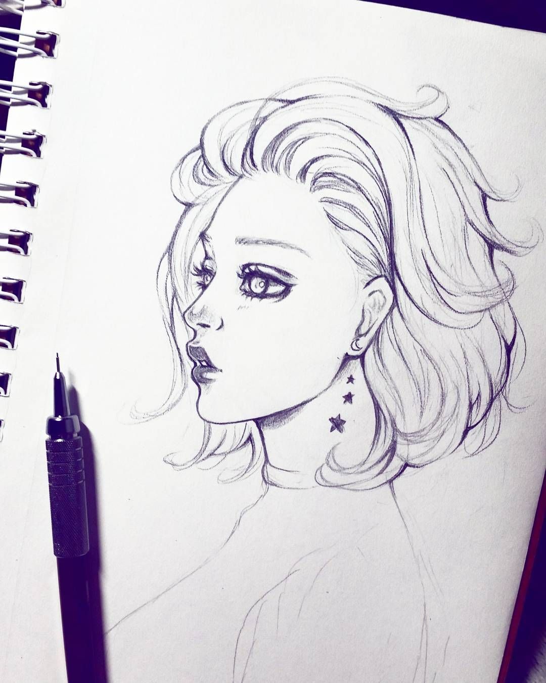 Drawings Of Girls With Short Hair : drawings, girls, short, 2,701, Likes,, Comments, Tamtrac, (@tamtrac12), Instagram:, Short, Ha…, Drawing,, Hair,, Drawing