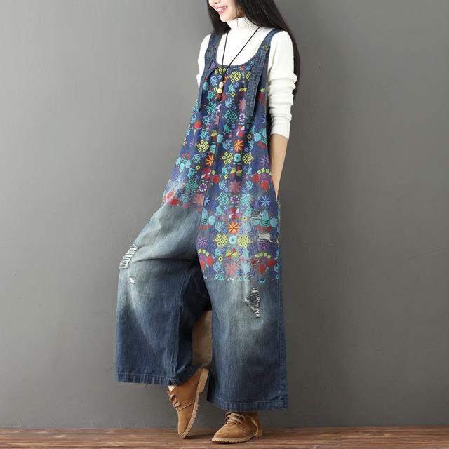061ac897809 Laie Wide Leg Denim Overall Vintage Printed Flower Jumpsuits ...