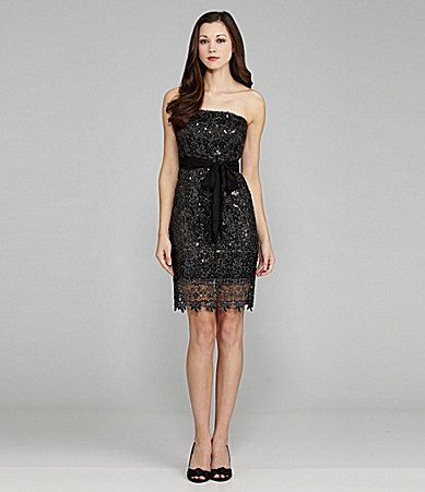 MM Couture by Miss Me Strapless Sequin Lace Dress #Dillards  I've now discovered MM Couture... might be the end of my paycheck