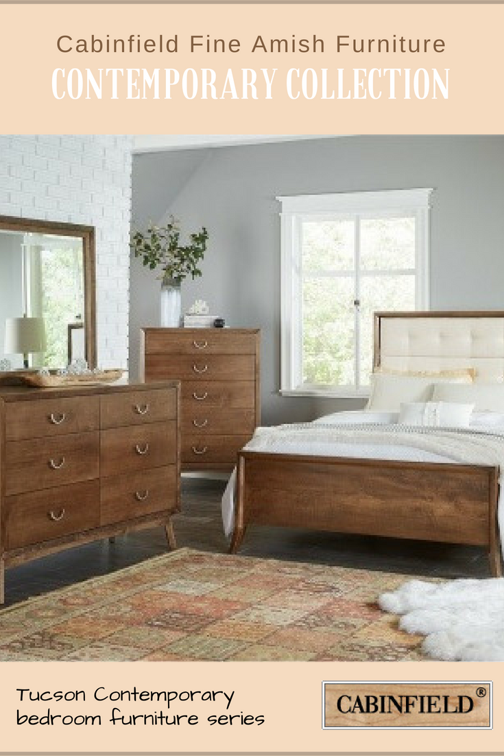 Mid century modern rules in the tucson amish bedroom furniture series angled legs feature