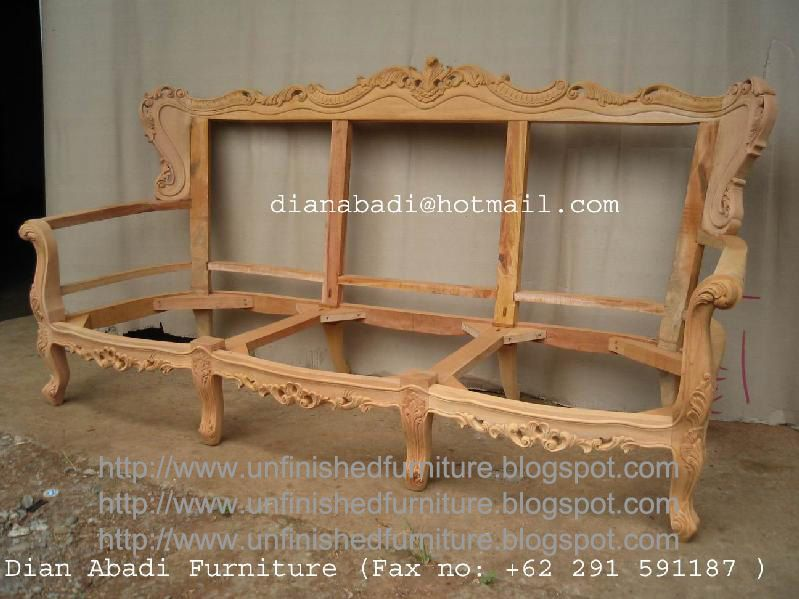 Unfinished Mahogany Furniture, Sevia Felipe Carved Wooden Frame Sofas Seat  For Living Room , Made
