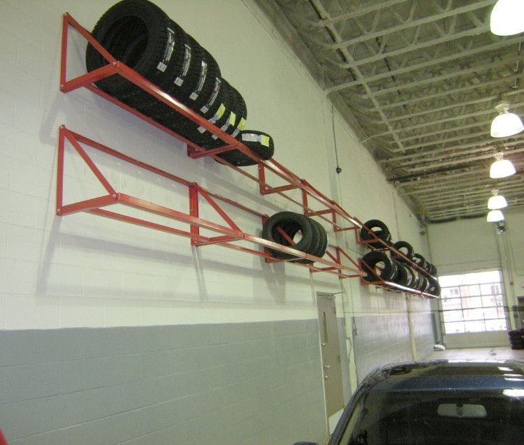 Rolling Tire Storage Rack Mwm66  Wall Mount Tire Rack Shelving In A Tire Shop  Storage