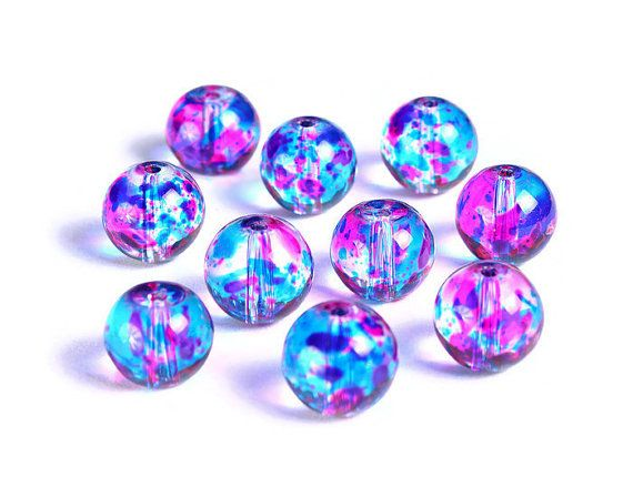 10mm Blue Clear And Hot Pink Spotted Round Glass Beads Multicolor Spot Pattern Glass Beads 1502 Pattern Glass Spots Pattern Round Glass