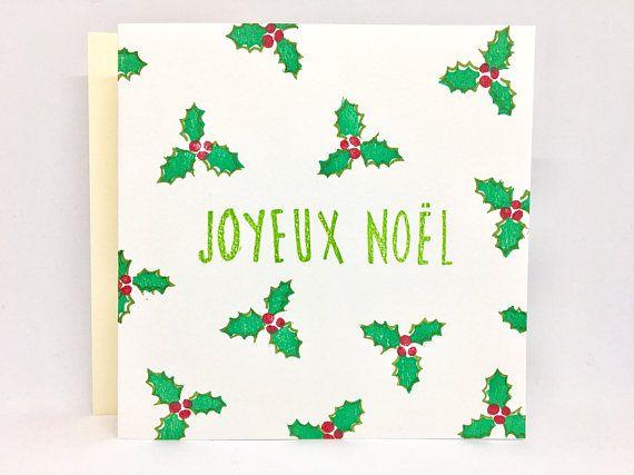 Jolie carte de Noël, carte Noël, carte joyeux Noël, carte houx