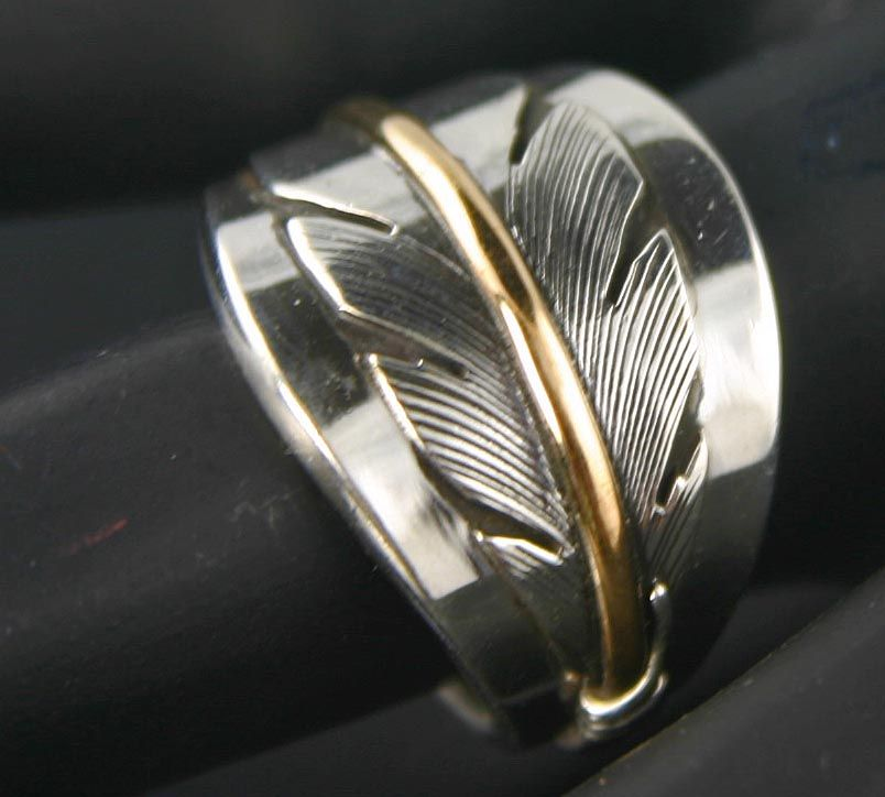 NATIVE AMERICAN Gold Silver Feather Wedding Band Ring Google
