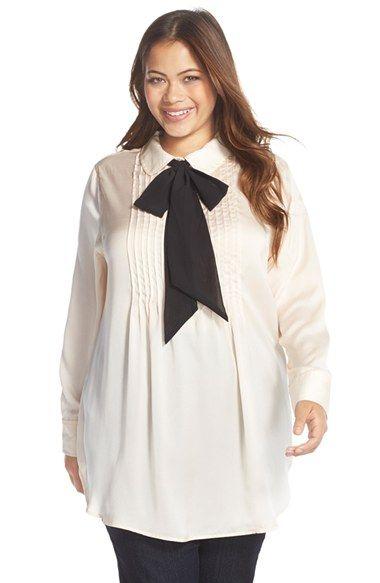 melissa mccarthy seven7 bow neck tunic blouse (plus size