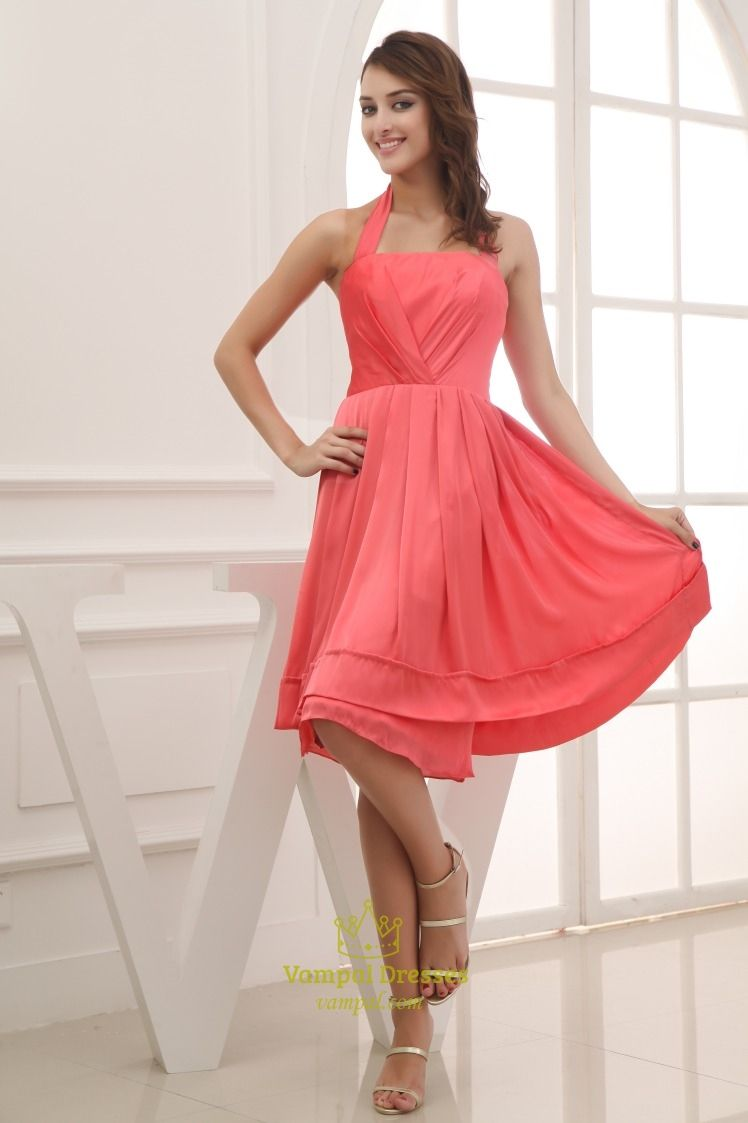 Vampal offers high quality coral halter bridesmaid dresses