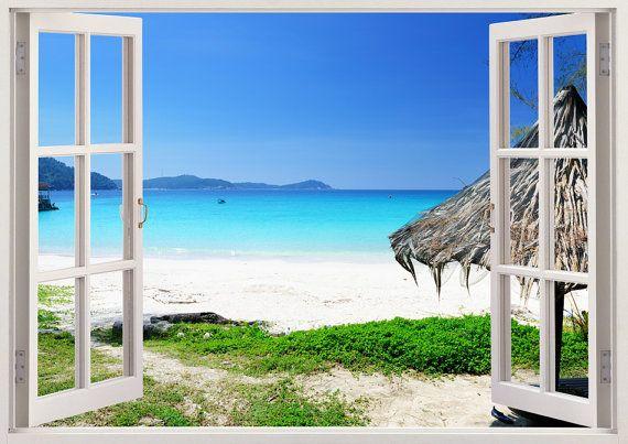 Beautiful Beach Removable Wall Decals 3d Window Beach Vinyl Wall