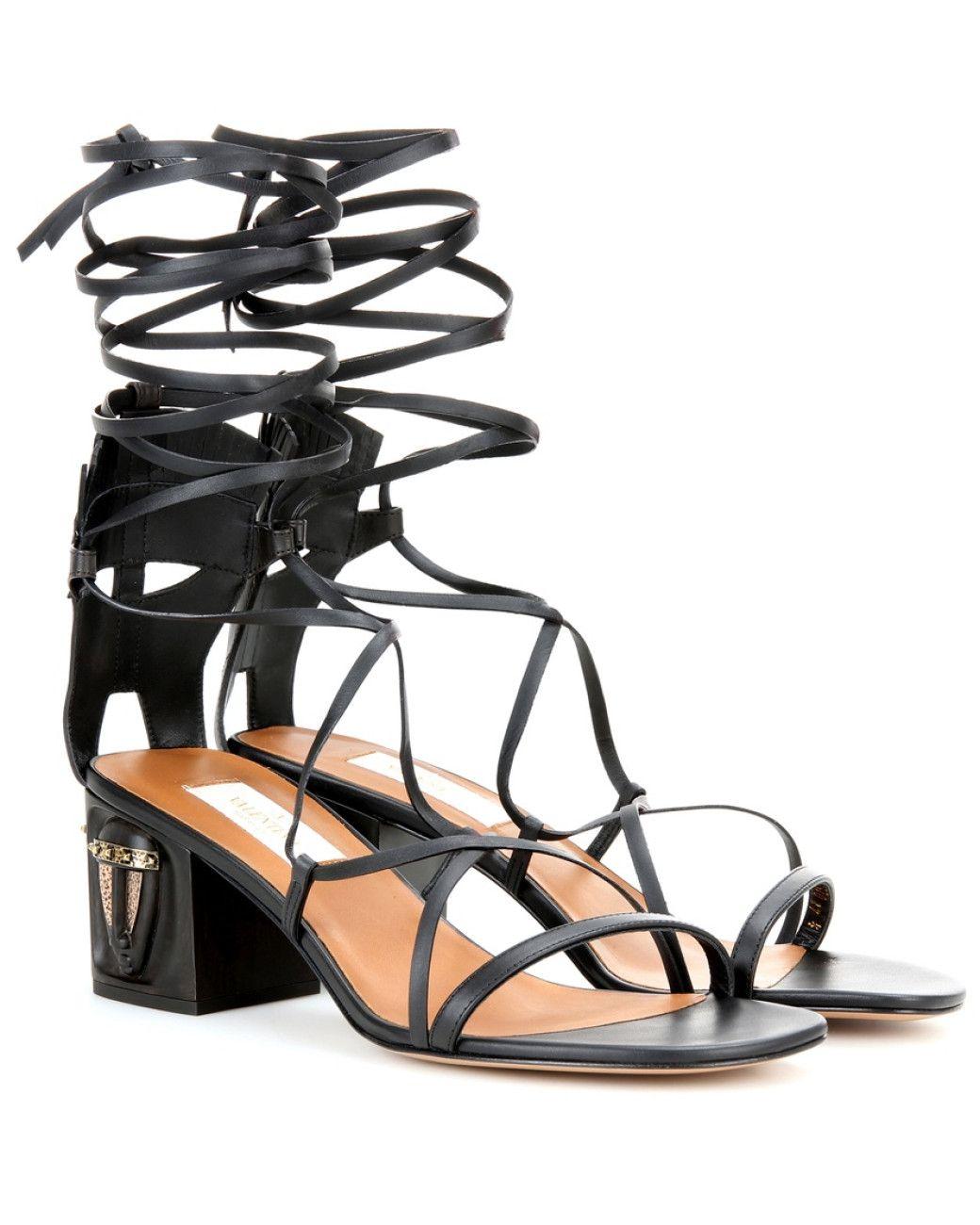 bb744f2c81b Valentino | Black Embellished Leather Sandals | Lyst | Shoe Love ...