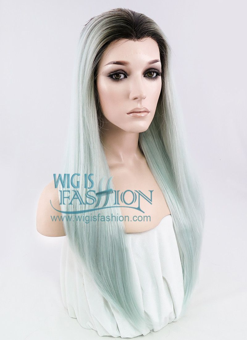 """24"""" Long Straight Light Blue Green With Dark Roots Ombre Lace Front Sy"""