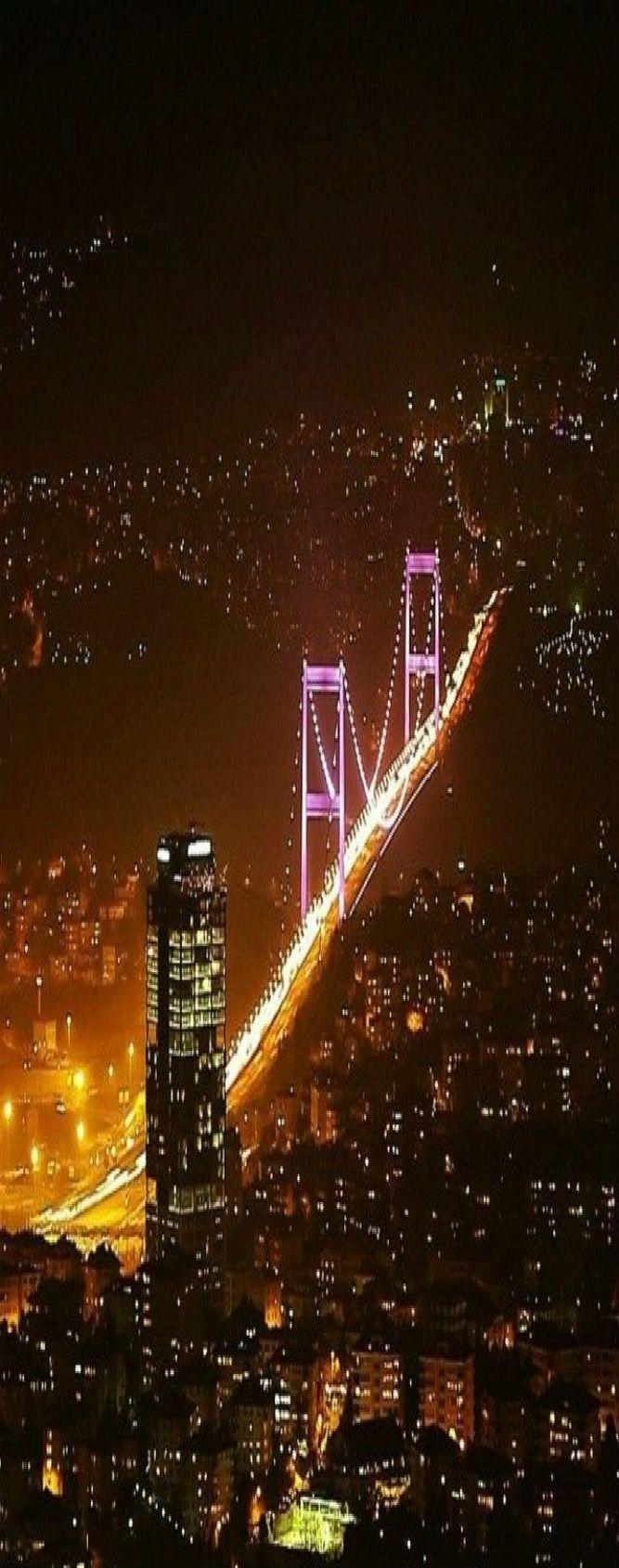 Bosphorus Bridge @ Night, Istanbul, Turkey
