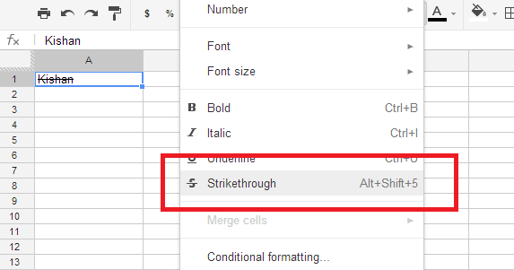 Google Spreadsheet Strike through on a Cell with and
