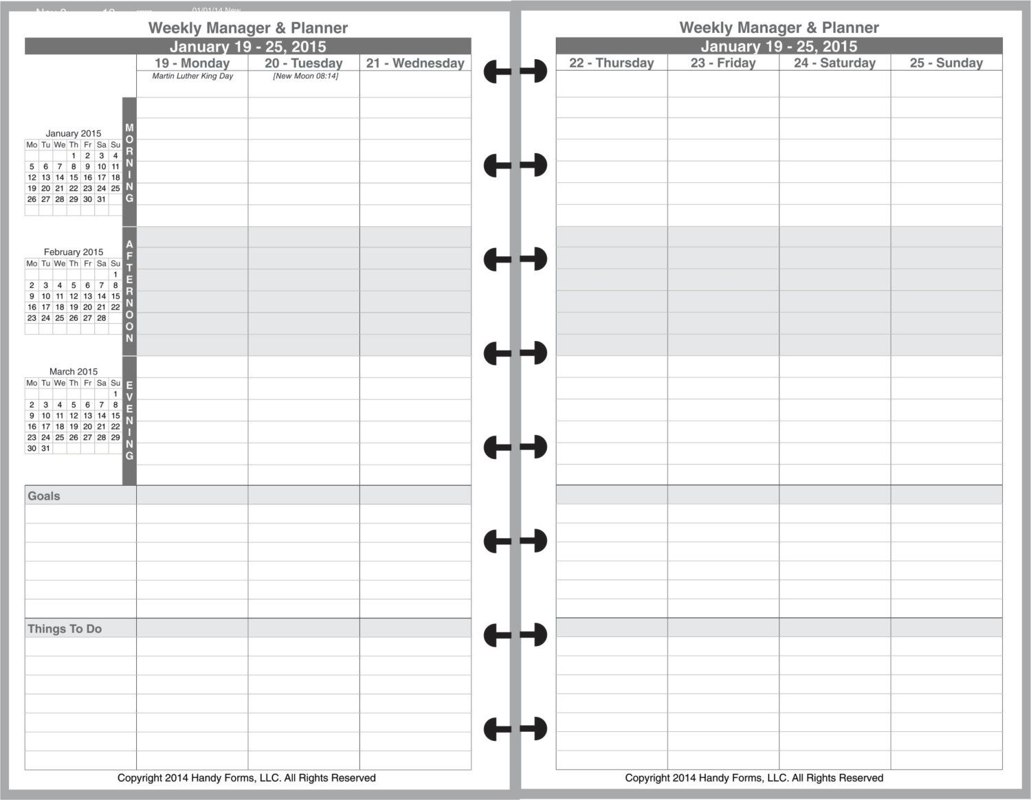Weekly Manager Planner Organizer 2 Page Per Week 5 By