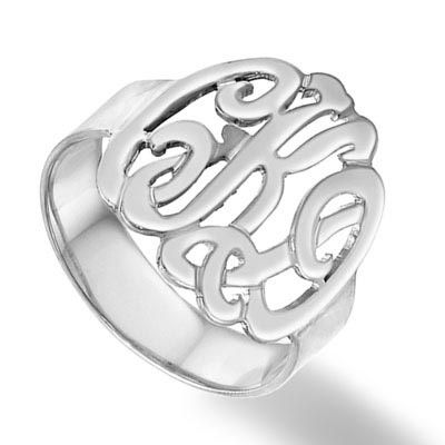 Zales Scroll Monogram Ring in 10K White Gold (3 Initials) KVTxKaqpS