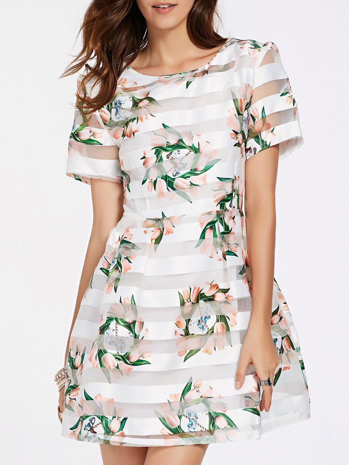 566c2b79a8e8 Vintage Jewel Neck Floral Print Striped Organza Dress For Women |  NastyDress.com