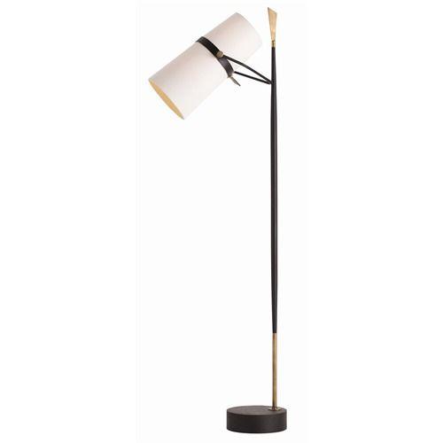 Floor Lamp In Antique Brass And Iron Black Floor Lamp