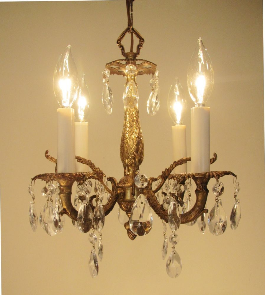 Vintage Petite Brass And Crystals Chandelier 4 Lights Ultra Small 12 X 12 Crystal Chandelier Chandelier Lights